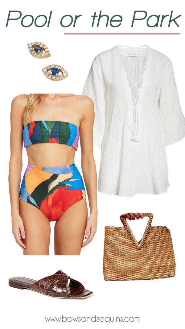 mara hoffman bandeau high waisted bottoms, evil eye stud earrings, cute coverup, pool outfit