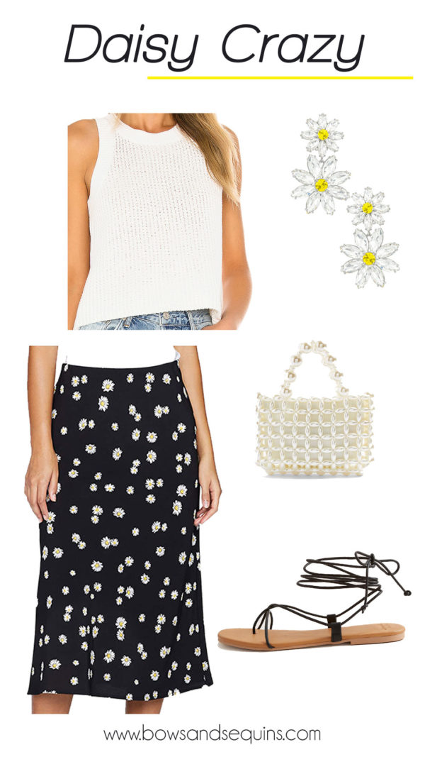 sweater tank, floral daisy skirt, pearl bag
