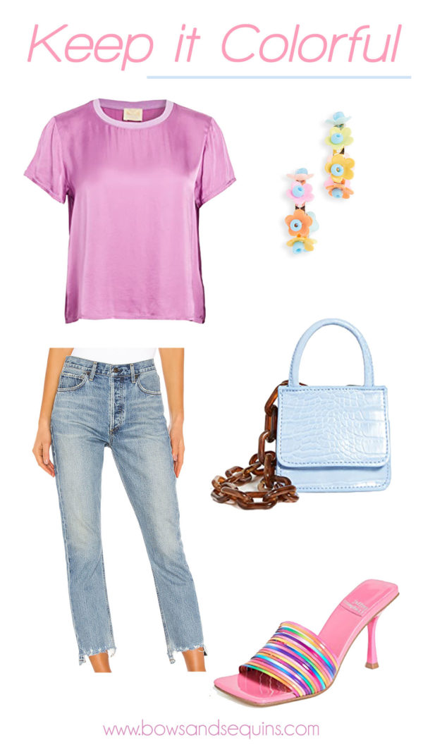 lilac silky tee, citizens of humanity charlotte crop raw hem boyfriend jeans, colorful accessories