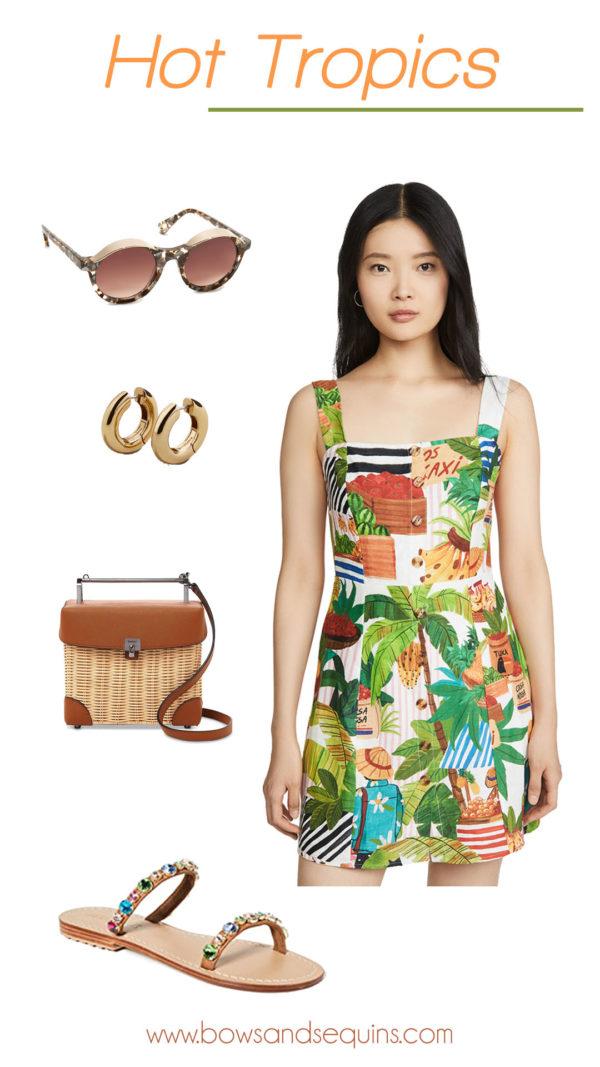 farm rio dress, wicker bag, mystique sandals