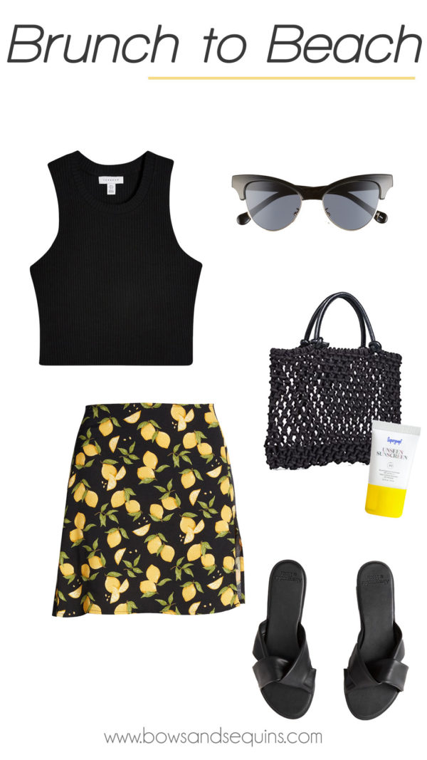 reformation lemon print skirt outfit