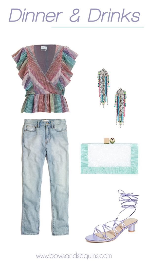 saylor shimmery rainbow stripe top outfit