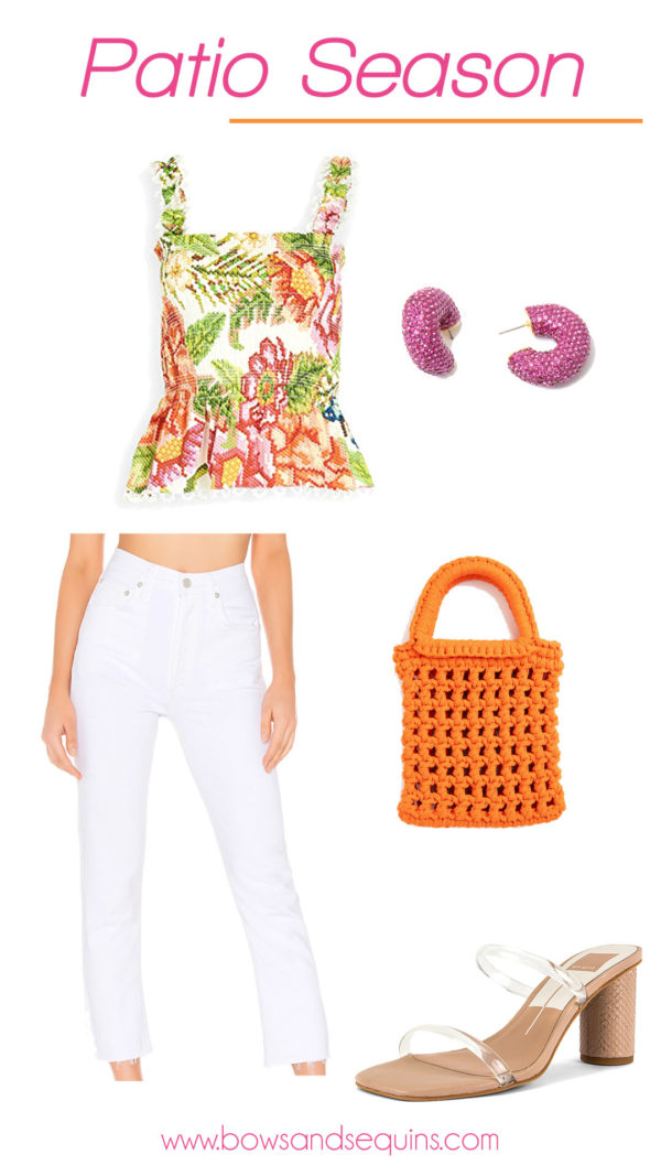 farm rio embroidered vintage floral top outfit with white jeans and clear strap sandals