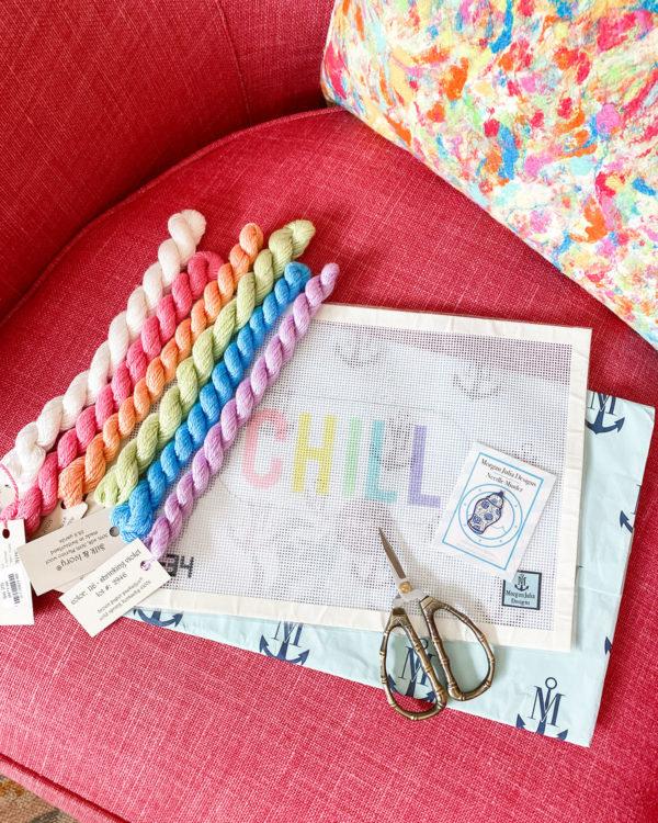 Morgan Julia Designs Chill Pill Needlepoint Canvas, Bamboo Scissors, Silk & Ivory Threads, Ginger Jar Needle Minder