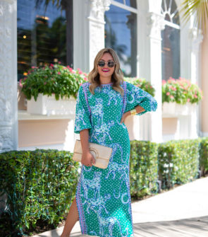 Jessica Sturdy wearing a Lilly Pulitzer Green Leopard Maxi Dress in front of the Chesterfield Hotel in Palm Beach, Florida