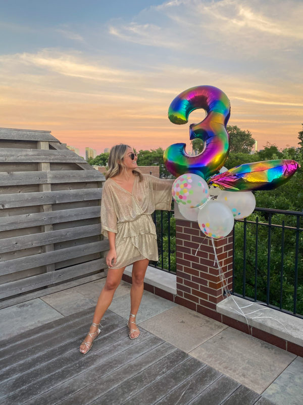 Chicago blogger Jessica Sturdy of Bows & Sequins wearing a sparkly gold IRO dress, metallic sandals, and holding rainbow confetti balloon numbers.