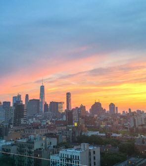 Freedom Tower in NYC Skyline at Sunset