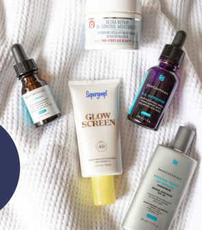 Beauty blogger reviews skincare products: SkinCeuticals CE Ferulic, HA Intensifier, Physical Fusion Sunscreen, First Aid Beauty Ultra Repair Oil-Free Moisturizer, and Supergoop Glow Screen SPF