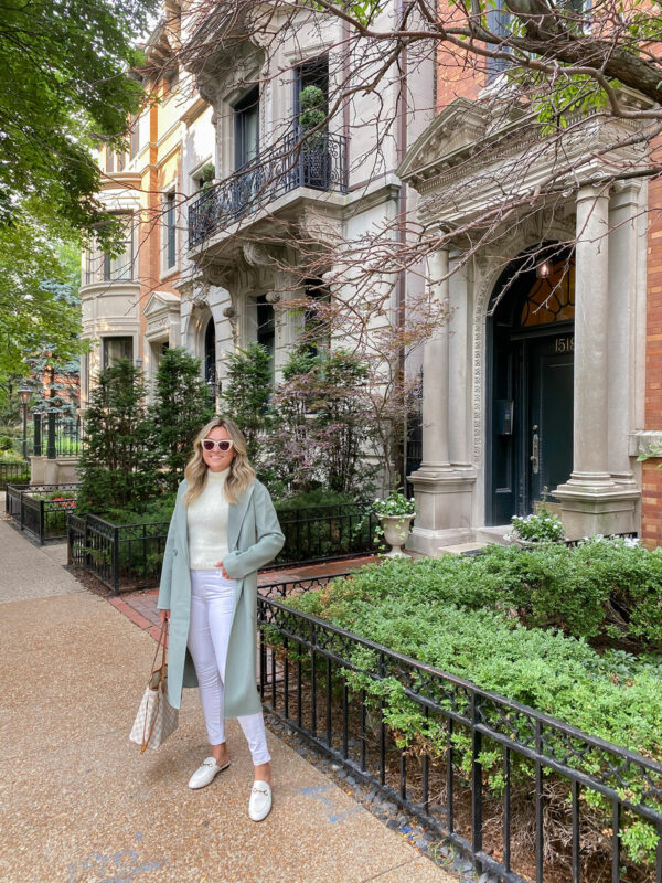 Summer to Fall Outfit Idea: Sage Green Light Long Coat, White Textured Tank, White Denim, Gucci Mules
