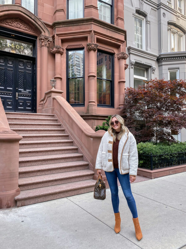 Fall Outfit Idea: Sherpa Jacket, Brown Sweater, Skinny Jeans, Suede Ankle Booties