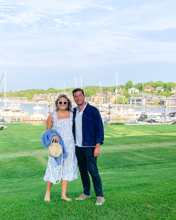 Jessica Sturdy wearing a Blue & White Floral Nap Dress with her boyfriend in Michigan