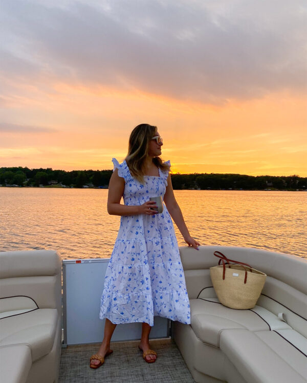 Blue & White Floral Nap Dress on Jessica Sturdy at sunset