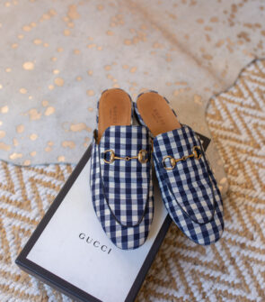 Gucci Navy & White Gingham Princetown Loafers