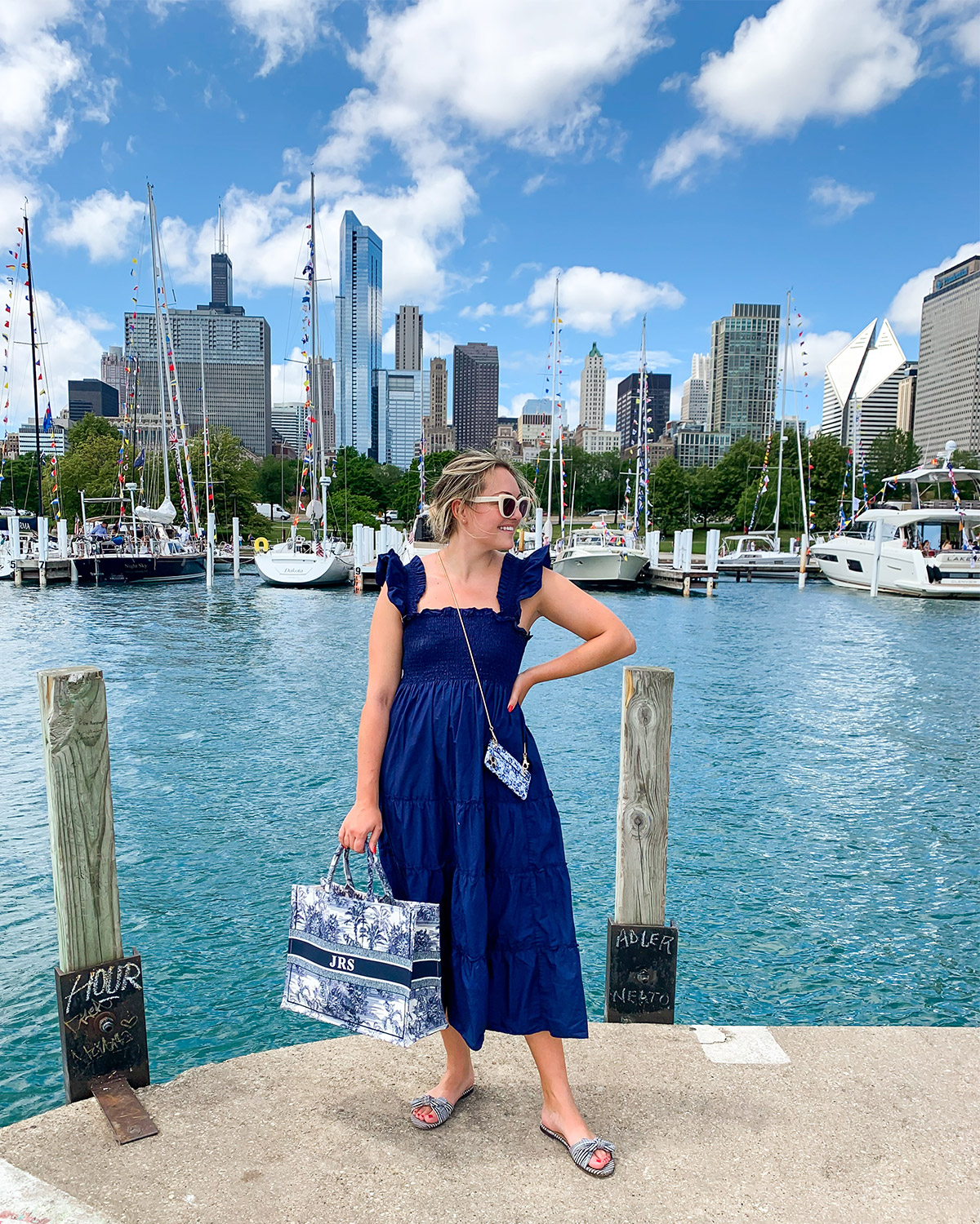Blue Nap Dress worn by Jessica Sturdy on a dock at Chicago's Yacht Club