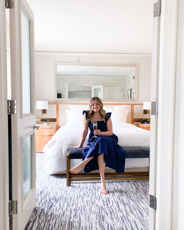 Navy Blue Nap Dress on Jessica Sturdy at the Four Seasons in Chicago
